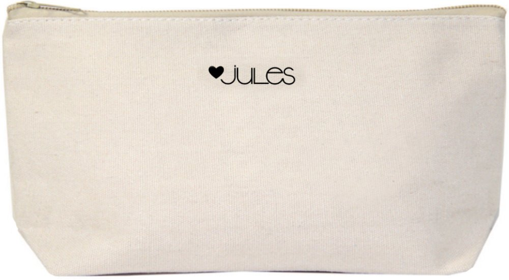 Jules Natural Canvas Makeup Zipper Bag Everything Happens For A Reason Just Believe