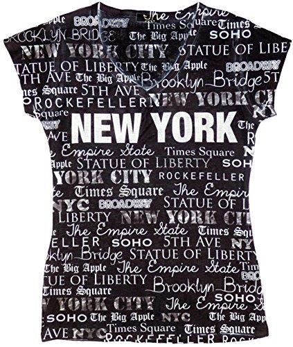 Sweet Gisele New York Inspired Stud Embellished Short-Sleeved T-Shirt - Large (Black)