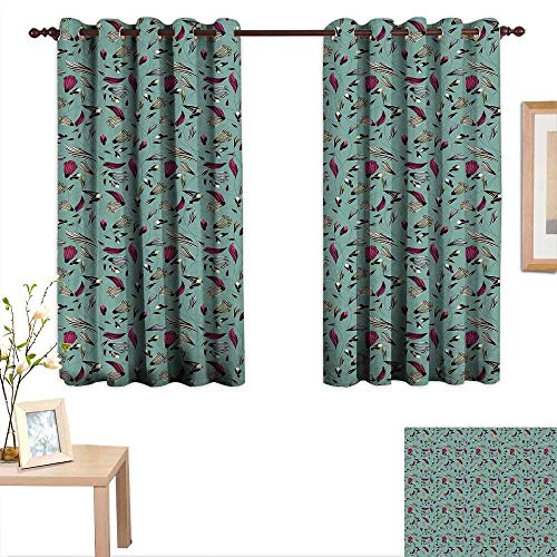 Luckyee Vintage Drapes for Living Room Drawing Style Antique Rich Ornament with Buds Gentle Spring Nature Inspiration 63