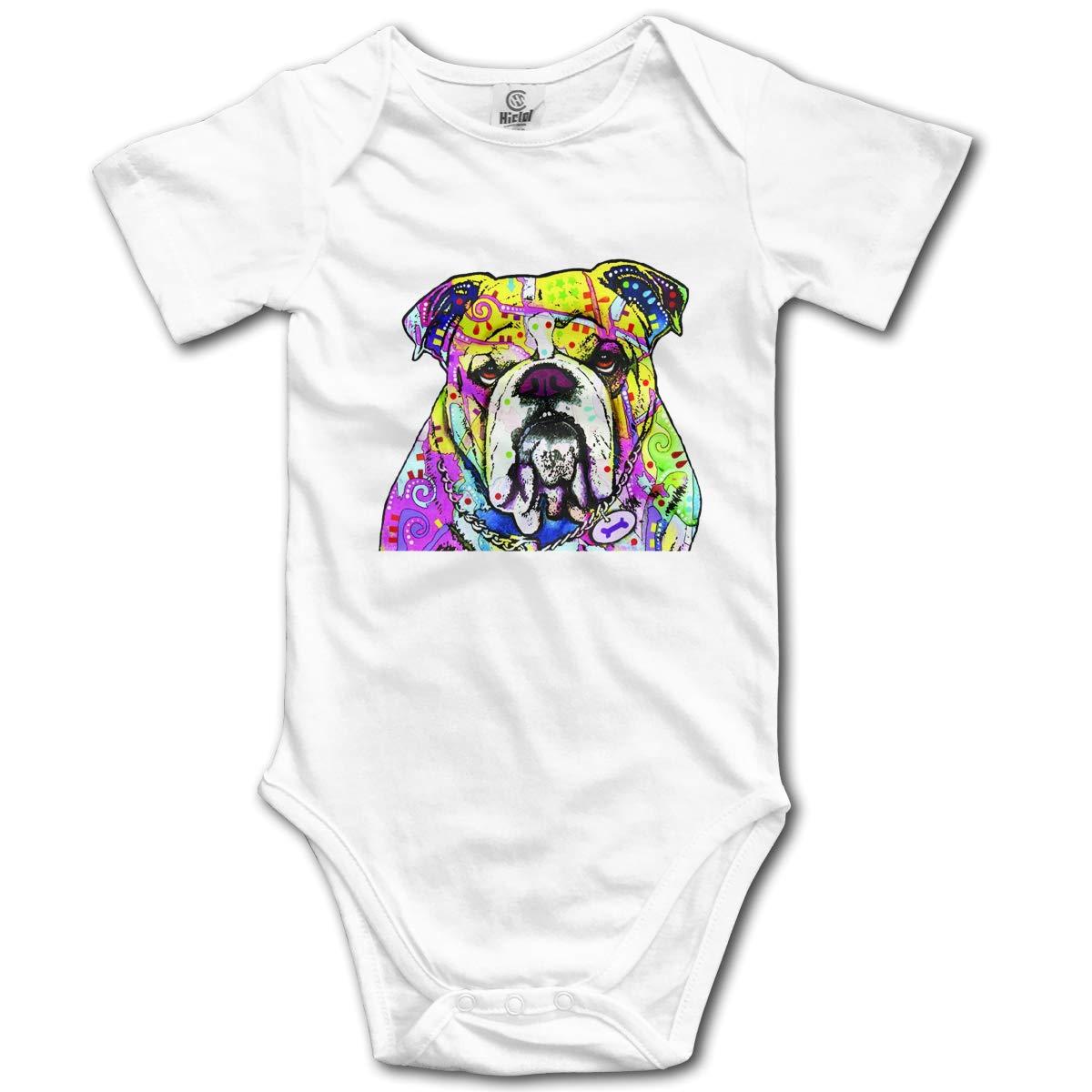 Coollifea Bulldog Baby Romper 0-18 Months Newborn Baby Girls Boys Layette Rompers Black