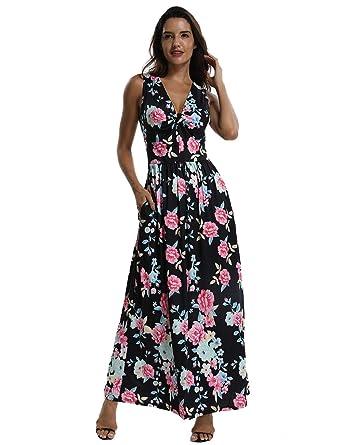 41597c150e96 CROSS1946 Women s Sleeveless Floral Print Maxi Dress Tank Top V Neck Summer  Casual Long Dresses with