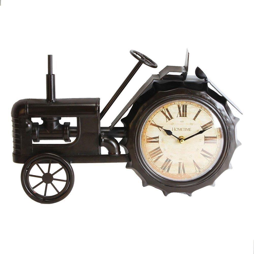 Hometime Metal Mantel Clock - Vintage Black Tractor White Dial Legends