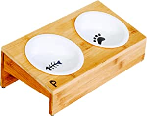Pawmosa Elevated Bamboo Pet Table with Ceramic Bowls Raised/Anti-Slip Tilted Station Cats/Dogs Food/Drink Water-Resistant Surface Clean Feeding and Good Digestion for Pets