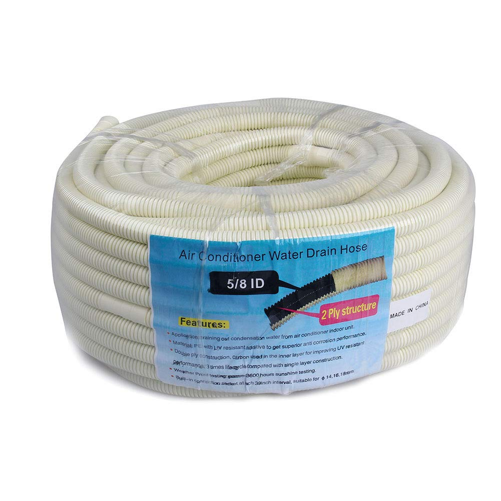 6m ; 5//8 ID Beige 50m AC Parts 164 Ft Flexible Water Drain Hose Pipe for Ductless Mini Split Air Conditioner Heat Pump Systems; 5//8 ID Beige