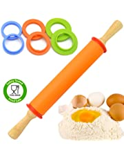 DSL Silicon Adjustable Wooden Handle Rolling Pin 4 Adjustable Discs Ring Non Stick