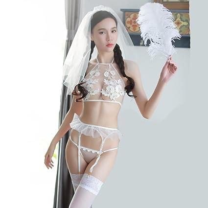 20285dc772c4 Lencería para Mujeres Sexy Virgin Primera Noche Ropa Interior Velo ...