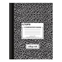 """TOPS Composition Book, 10"""" x 7-7/8"""", College Rule, Black Marble Cover, 80 Sheets (63798)"""