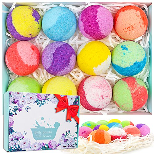 Arvidsson Bath Bombs Gift Set, 12 Handmade Lush Bath Bomb with Organic & Natural Essential Oils, Floating Fizzy Spa & Bubble Bath, Perfect Birthday Gift Idea for Kids Women Men