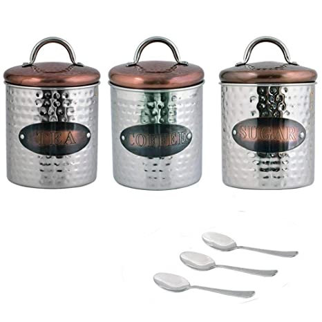 Kosma Set Of 3 Stainless Steel Tea Sugar Coffee Canister Sets Kitchen Storage Jar Sets Hammered Finish With Copper Plated Lids Free Gift 3