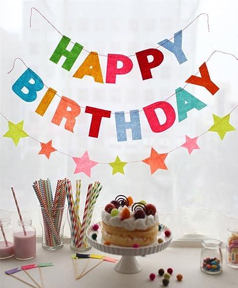 Amazon.com: Feliz cumpleaños estrellas Banner Childern ...