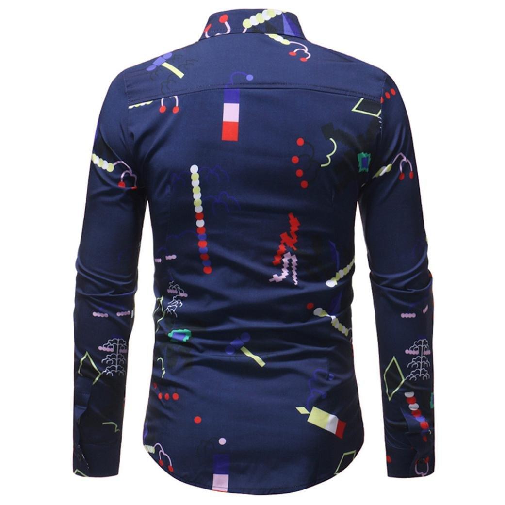 Camiseta para Hombre, RETUROM Blusa Impresa de la Manera del Hombre Camisas Ocasionales de Manga Larga Slim Tops: Amazon.es: Ropa y accesorios