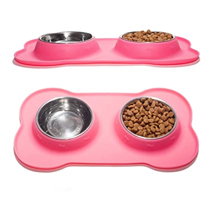 Amazon Com Greenlifestyle Stainless Steel Dog Food Bowl Set With