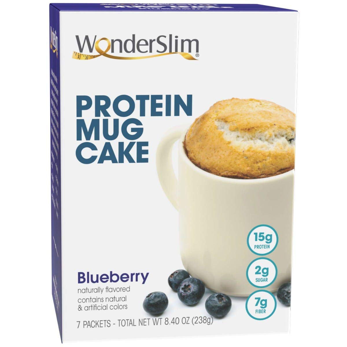 WonderSlim Blueberry Protein Mug Cake, Low Calorie Snack For Weight Loss, 7 Mug Cake Mixes with 15g Protein Ready In 30 Seconds, 7g Fiber, Low Sugar, Only 130 Calories, Gluten Free Treat - 7 Servings