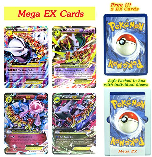 EX Mega Pack of 4 Mega– Mewtwo Gallade Diancie and Latios with Free 2 EX Random All Flashy Cards English with Box and Sleeve. (Spirit Halloween Promo Codes)