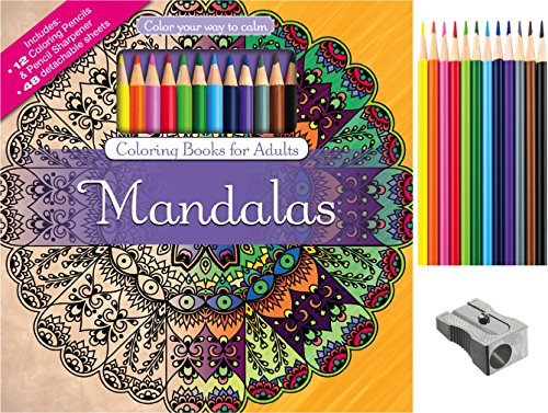 Mandalas-Adult-Coloring-Book-Set-With-24-Colored-Pencils-And-Pencil-Sharpener-Included-Color-Your-Way-To-Calm