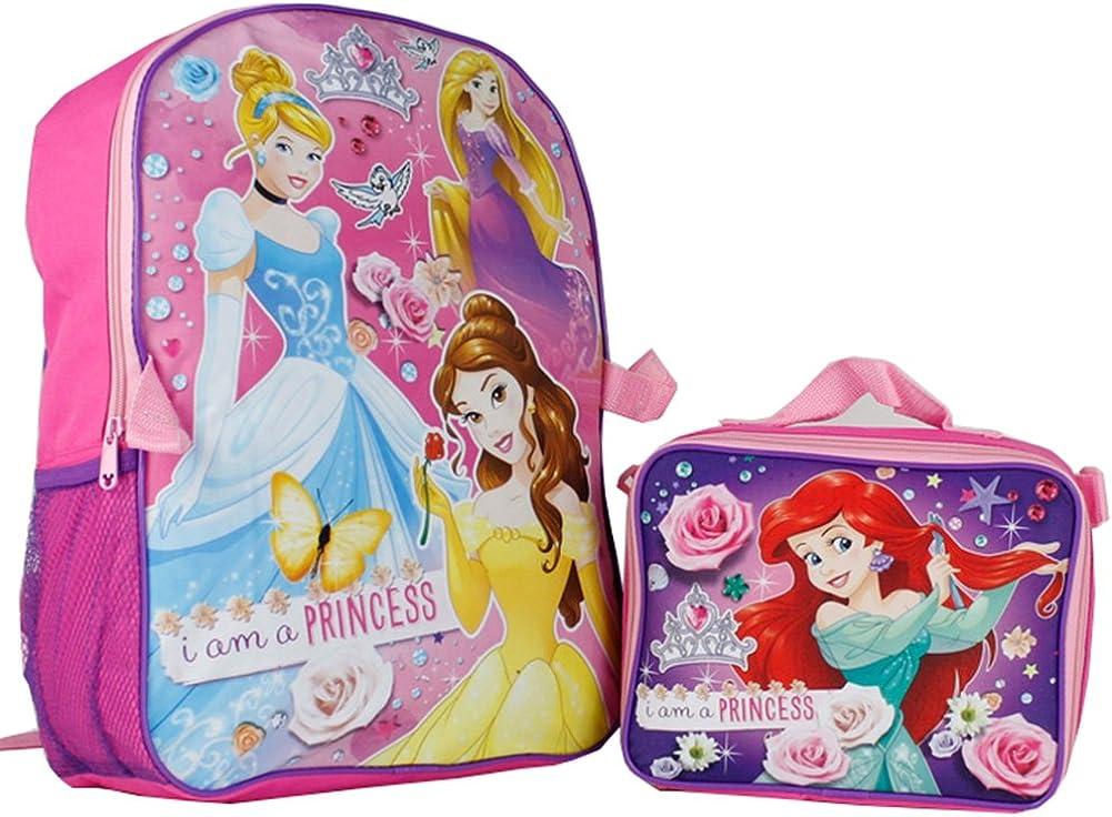 "Disney Princess Ariel Cinderella Pink 16/"" Large Backpack W// Detachable Lunch Bag"