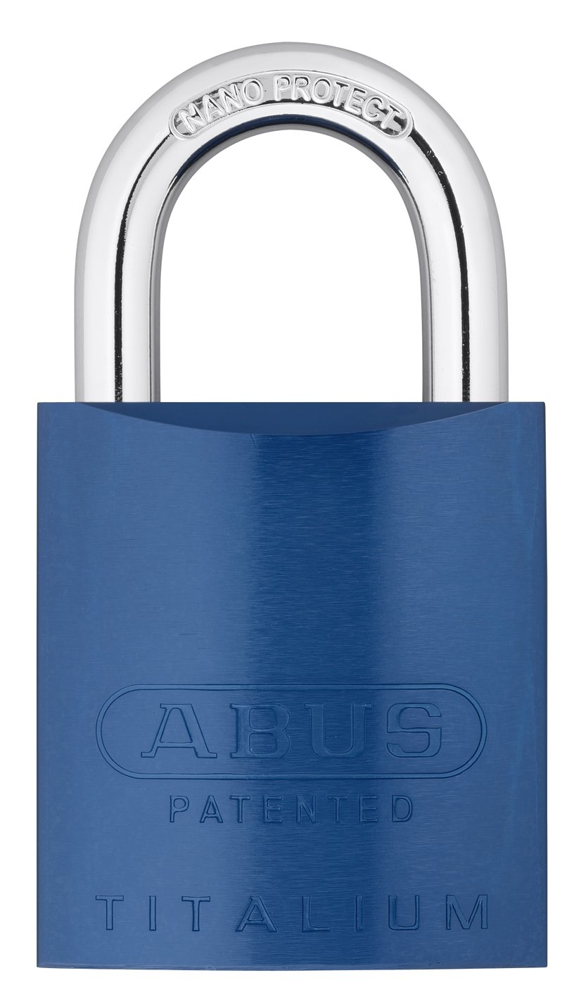 ABUS 83AL/45-300 S2 Schlage Rekeyable Padlock Aluminum Body with 1-Inch Shackle, Blue Zero-Bitted