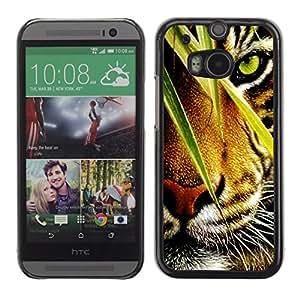 LASTONE PHONE CASE / Carcasa Funda Prima Delgada SLIM Casa Carcasa Funda Case Bandera Cover Armor Shell para HTC One M8 / Tiger Jungle Forest Rainforest Eye Feline