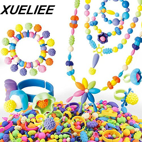 XUELIEE 110 Pieces Kids Pop Beads Toy Set Jewelry DIY Kit for Necklace and Bracelet Art Crafts Birthday Toy Gifts by XUELIEE