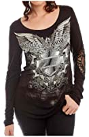 Harley-Davidson Women's Fallen Angel Embellished Lace Long Sleeve Shirt, Black