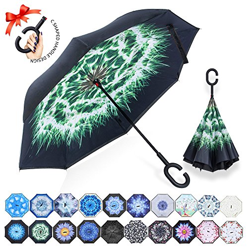 ZOMAKE Double Layer Inverted Umbrella Cars Reverse Umbrellas Windproof UV Protection for Car Rain Outdoor With C-Shaped Handle (Dandelion) Review