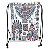 Custom Printed Drawstring Sack Backpacks Bags,Tribal,Ethnic Teepee Tents Eagle Symbol Moon Sun and Feather Chief Hat Print Decorative,Coral Blue and Peach Soft Satin,5 Liter Capacity,Adjustable String