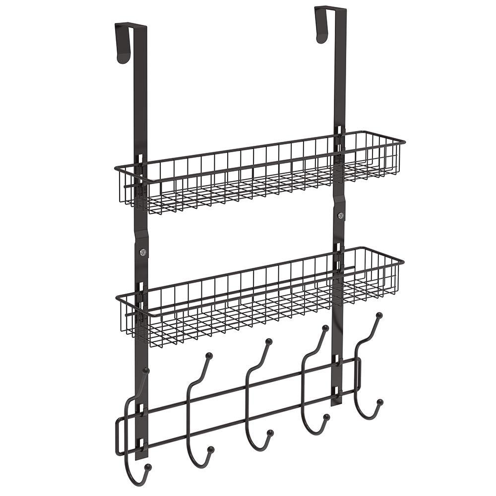 NEX Upgrade Over The Door Hook Shelf Organizer 5 Hooks with 2 Baskets Storage Rack for Coats & Towels, Chrome(Dark Brown)