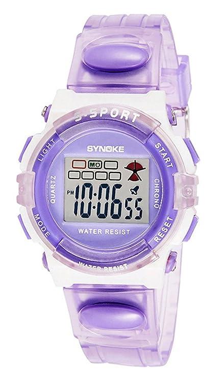 Sport Reloj de Pulsera para Niños Redondo Reloj Digital Impermeable con Cronógrafo Alarma y luz Funciones