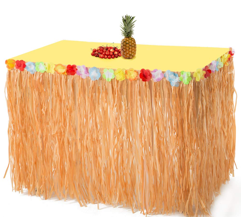 2PCS Luau Hawaiian Grass Table Skirt Decorations - Hula Hibiscus Tropical Birthday Summer Pool Party Supplies
