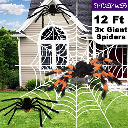 Party Favor Supply 12 ft Giant Stretch Spider Web 3 Mega Spider (30