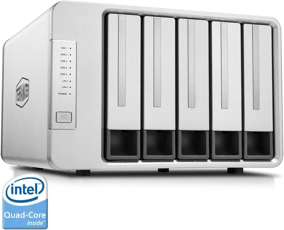 TerraMaster F5-220 Almacenamiento en Red NAS Servidor 5 Bahías Intel Celeron Dual Core 2.41GHz 4GB RAM 1 GigaLan (Sin Discos)