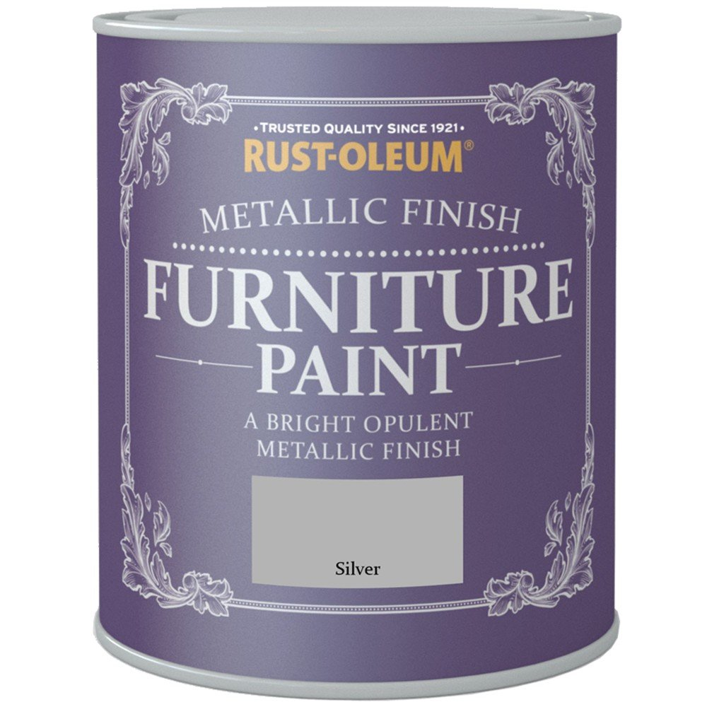 Rust-Oleum Metallic Finish Furniture Paint Silver 750ml