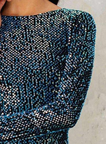 Azbro Mujer Vestido Ajustado sin Respaldo Mangas Largas con Lentejuelas Azul