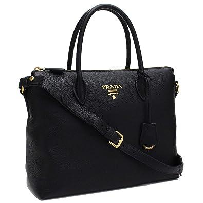 13e8092856f929 Prada Women's Black Vitello Phenix Leather Handbag 1BA063: Handbags:  Amazon.com