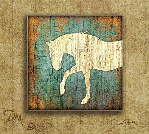 Mustang Square Western Art Print by Dan Morris (Square Mustang)