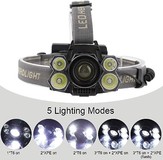 20000lm L/ámpara de Cabeza 5 Leds Linterna de Cabeza Super Brillante Impermeable IPX6 USB Recargable Luz Frontal Cabeza para Camping Correr Pesca Ciclismo Caza SolUptanisu Linterna Frontal LED