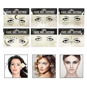 Dsaren Face Sticker Gesicht Tattoo Aufkleber Gesicht Edelsteine Fur Glitzer Effekt Parties Shows Make Up 6 Stuck Amazon De Beauty