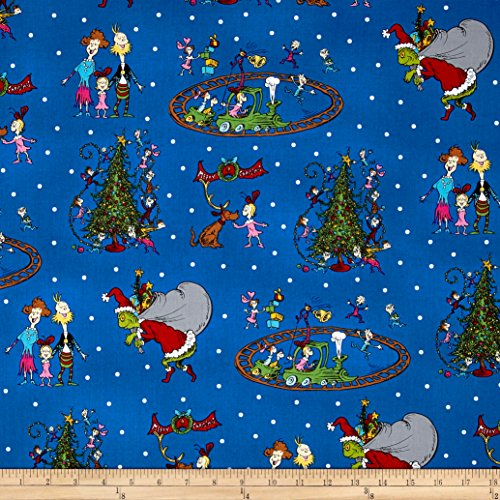 How The Grinch Stole Christmas Grinch Collage Blue Fabric...