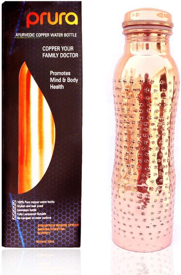 PRURA - Botella para agua de cobre, recipiente de cobre puro ayurvédico a prueba de fugas, color Diseño 4, tamaño 900ml/30oz, volumen 900.0milliliters