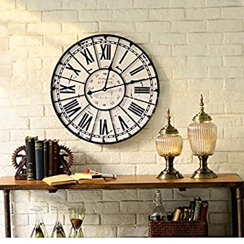 Y-Hui Reloj de pared de metal verde Bar relojes decorativos de gran tamaño reloj de pared de silencio: Amazon.es: Hogar