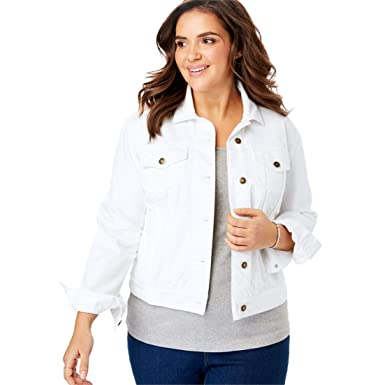 2c7f2d64179 Woman Within Plus Size Stretch Denim Jacket at Amazon Women s ...