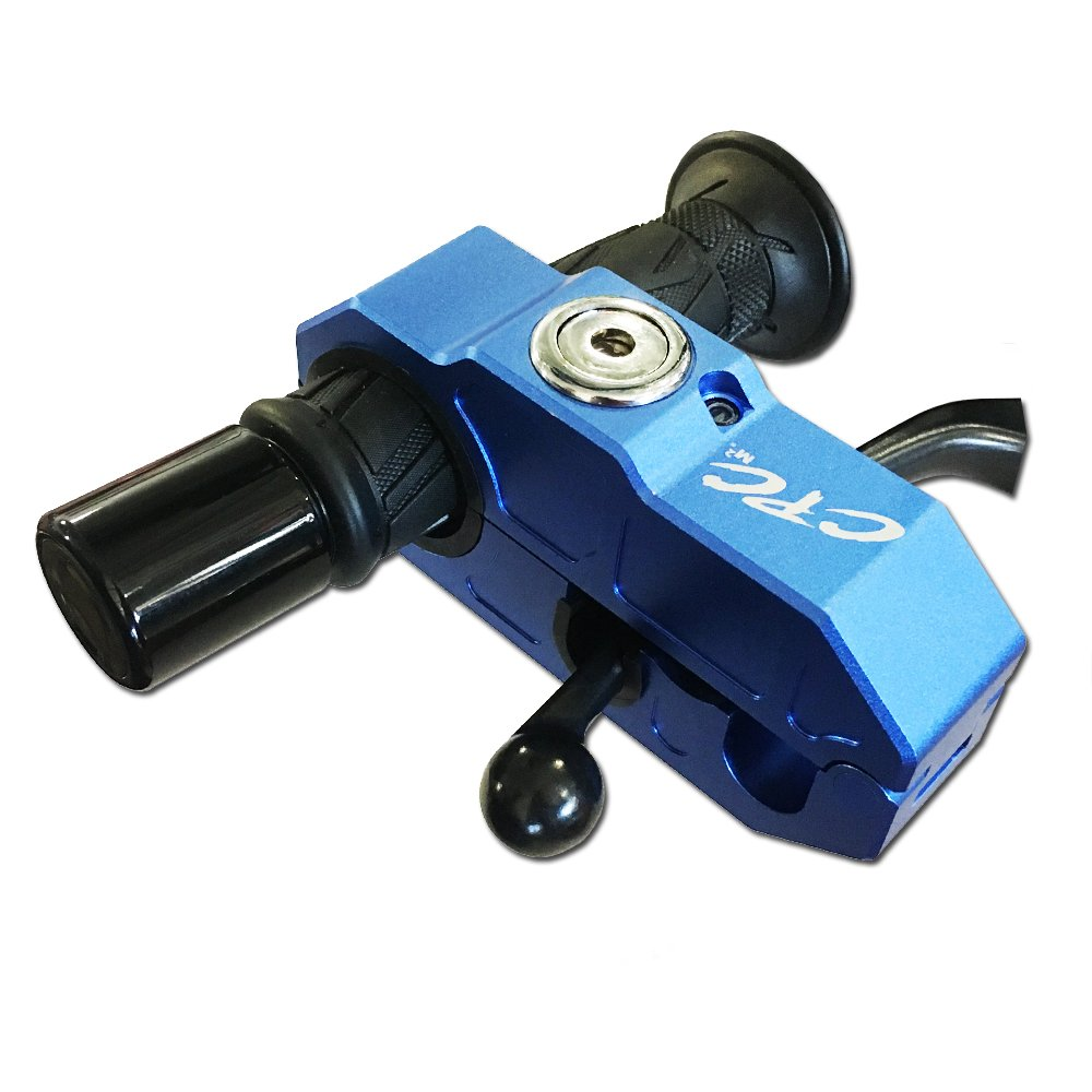 Anti-Theft Grip/Handlebar Lock, 120db Alarm for Motorcycles, Cars, ATV's, UTV's, Side By Side's, Snowmobiles, Scooters, Mopeds, Bicycles and more (Blue) by CPC Racing