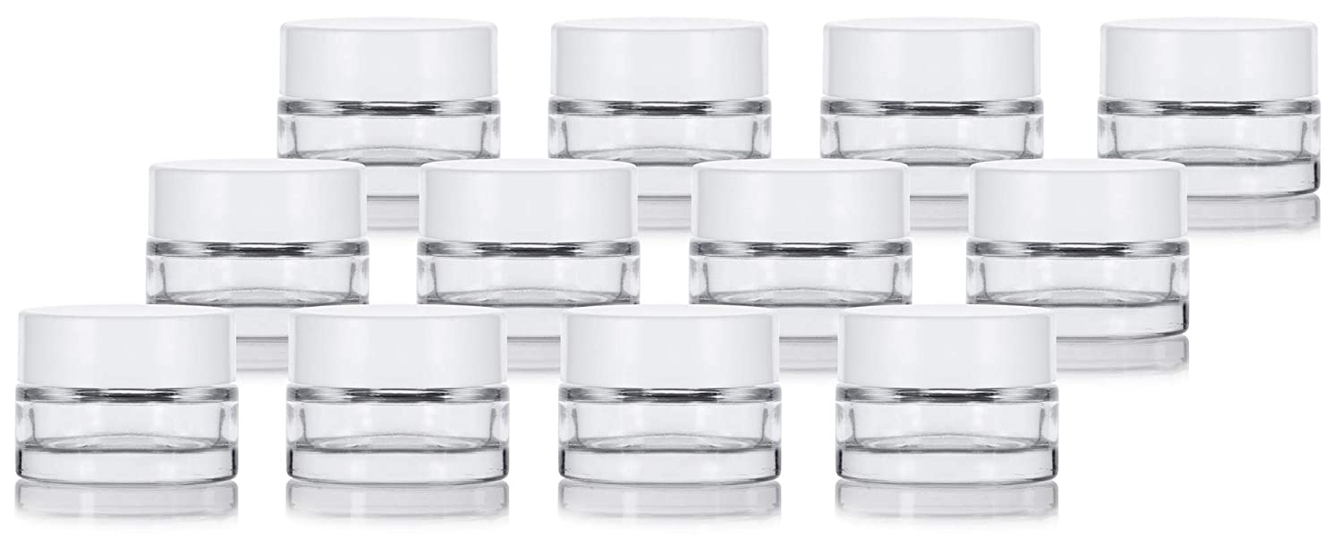 Clear Glass 0.25 oz Thick Wall Balm Jars with White Foam Lined Smooth Lids 12 pack