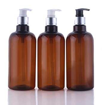 500ml/16.6oz Refillable Empty Brown Plastic Pump Bottles Jars Set with Pump  Tops for