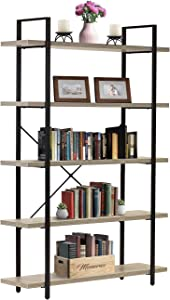 Sorbus Bookshelf 5 Tiers Open Vintage Rustic Bookcase Storage Organizer, Modern Industrial Style Book Shelf Furniture for Living Room Home or Office, Wood Look & Metal Frame (5-Tier, Light Grey)