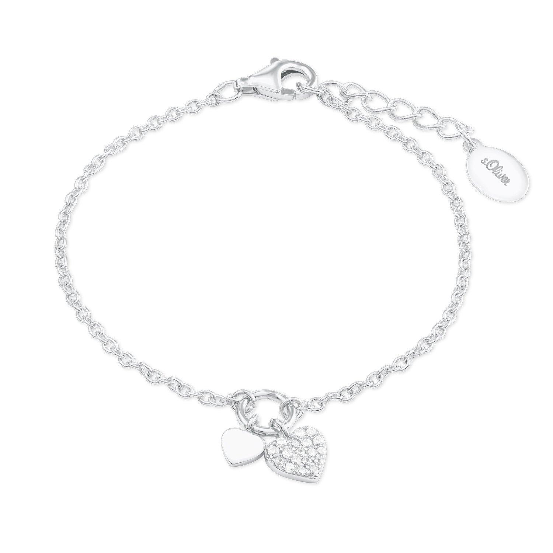 s.Oliver Mädchen-Armkette mit Herz-Anhänger Sterling Silber 925 Zirkonia (synth.) rhodiniert 14+2cm 2022701