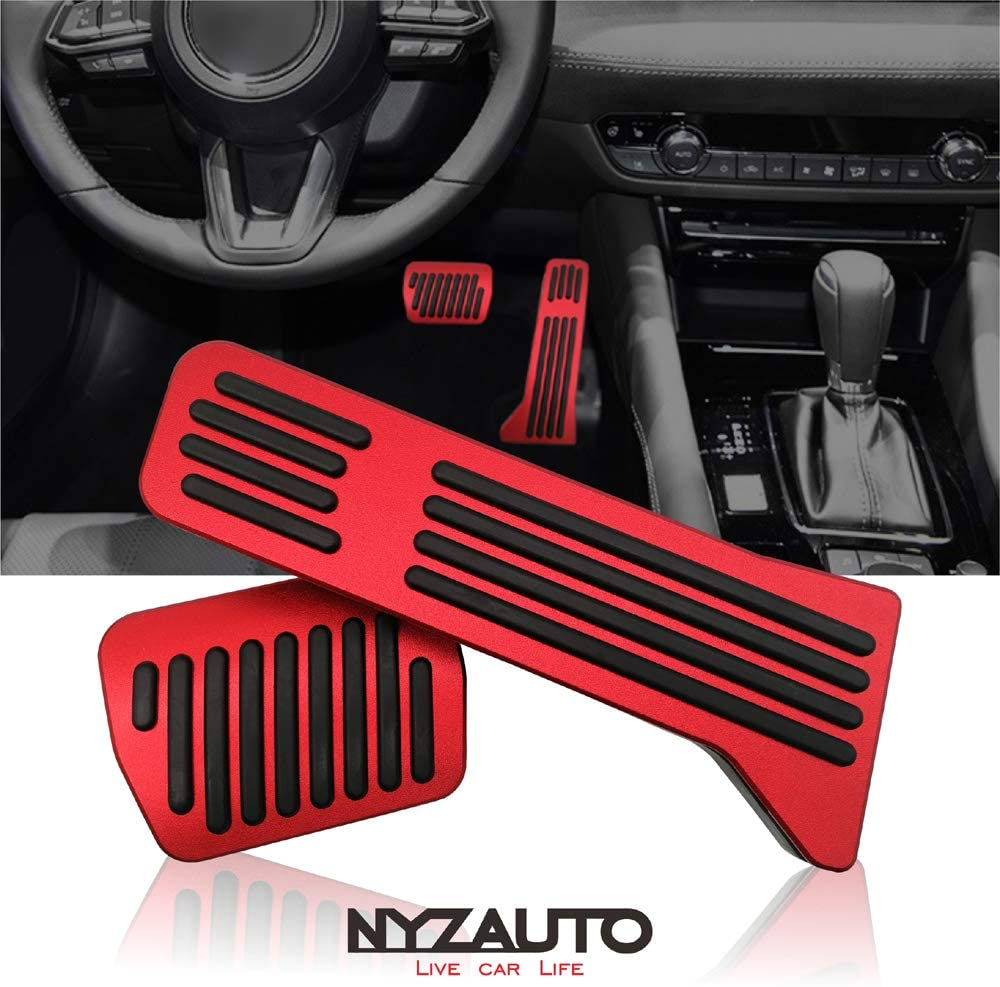 NYZAUTO Anti-Slip Performance Foot Pedal Pads kit Compatible with Mazda 2 3 6 CX3 CX5 CX9,Auto No Drilling Aluminum Brake and Gas Accelerator Pedal Covers Red