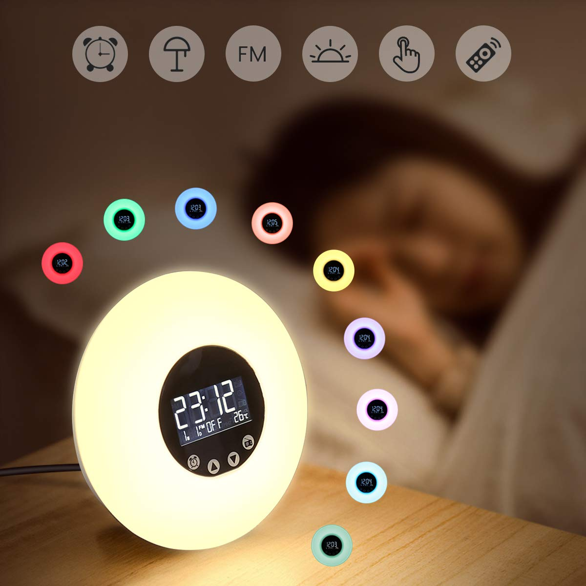 Alarm Clock Wake Up Light GLIME Sunrise Sunset Simulation Bedside Lamp 10 Colors 10 Brightness 51 Sounds FM Radio Eyes Protection Touch Control Function Kids Night Light USB product image