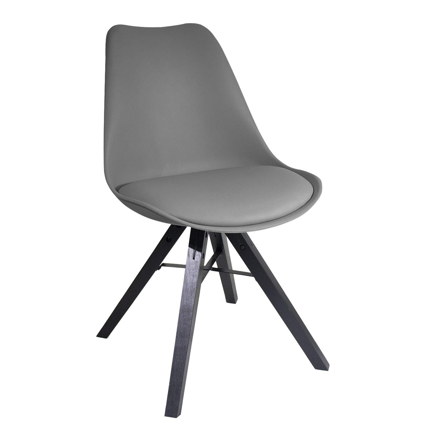 YUIKY Modern Dining Chair Padded Seat Natural Wood Legs Chair Office Canteen Home Grey (1chair)