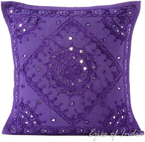 "16/"" Purple Velvet Cushion Cover Pillow Case Sofa Throw Indian Ethnic Decorative"